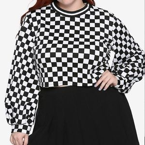 All Over Checkered Crop with Bishop Sleeves.